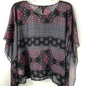 Jessica Simpson Sheer Blouse Peasant Shirt XS S